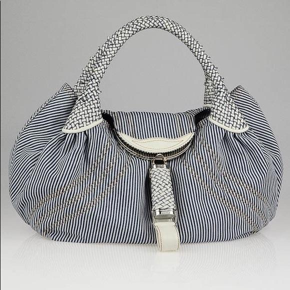 Fendi Handbags - This Fendi Striped Jeans Blue White Denim Spy